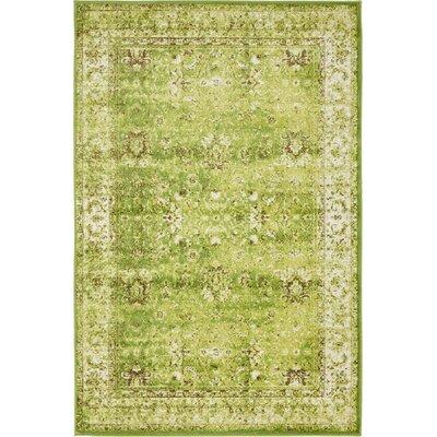 Yareli Green/Ivory Area Rug Rug Size: 4 x 6
