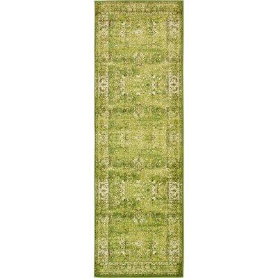 Yareli Green/Ivory Area Rug Rug Size: Runner 3 x 910