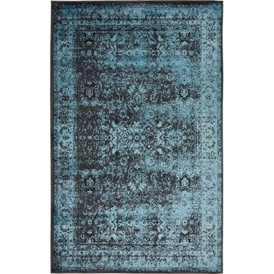 Yareli Blue/Black Area Rug Rug Size: 5 x 8