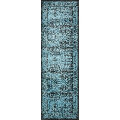 Yareli Blue/Black Area Rug Rug Size: 4 x 6