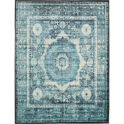 Yareli Blue/Black Area Rug Rug Size: Rectangle 7 x 10