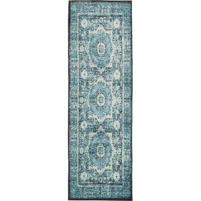 Yareli Blue/Black Area Rug Rug Size: Runner 3' x 9'10