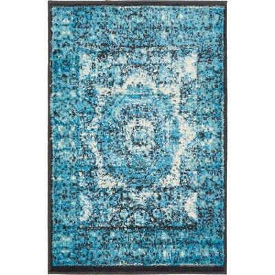 Yareli Blue/Black Area Rug Rug Size: 2 x 6
