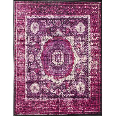 Yareli Violet/Ivory Area Rug Rug Size: 10 x 13