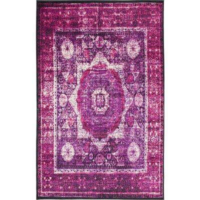 Yareli Violet/Ivory Area Rug Rug Size: 5 x 8