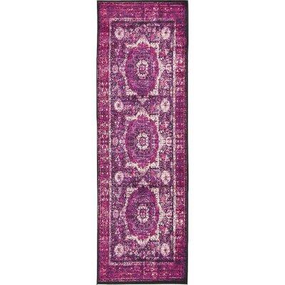 Yareli Violet/Ivory Area Rug Rug Size: Runner 3 x 910