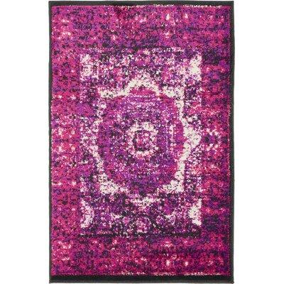 Yareli Violet/Ivory Area Rug Rug Size: 2 x 6