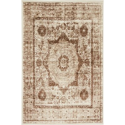 Yareli Beige/Brown Area Rug Rug Size: 4 x 6