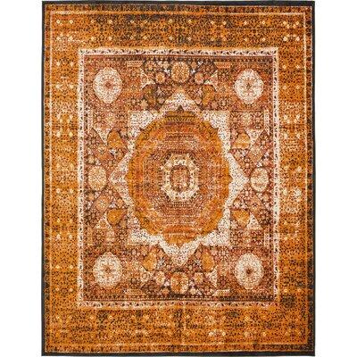 Bolton Ivory/Orange Area Rug Rug Size: 10 x 13