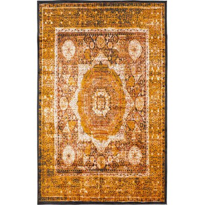 Bolton Ivory/Orange Area Rug Rug Size: 5 x 8
