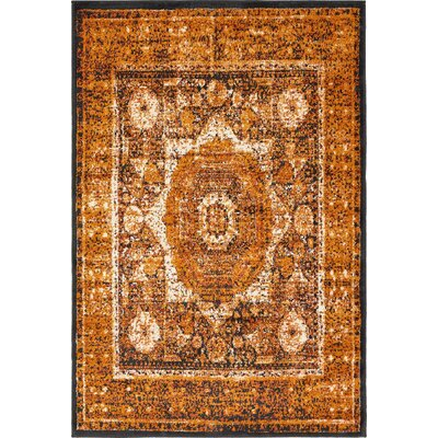 Bolton Ivory/Orange Area Rug Rug Size: 4 x 6