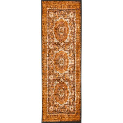 Yareli Ivory/Orange Area Rug Rug Size: Runner 3' x 9'10