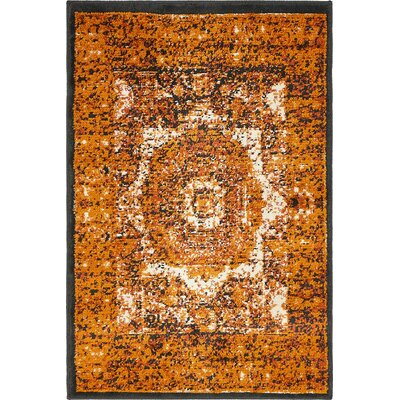 Yareli Ivory/Orange Area Rug Rug Size: 2' x 6'