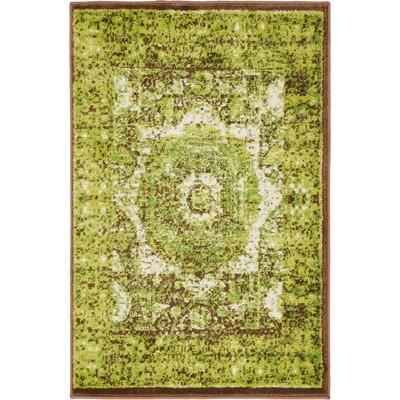 Yareli Green/Brown Area Rug Rug Size: 2' x 6'