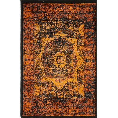 Yareli Terracotta/Black Area Rug Rug Size: 2 x 3