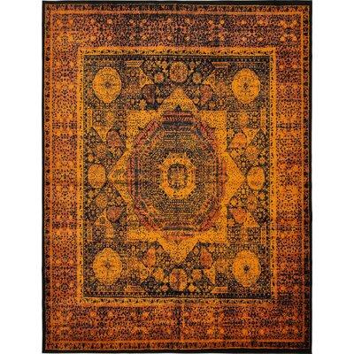 Yareli Terracotta/Black Area Rug Rug Size: 13' x 19'8