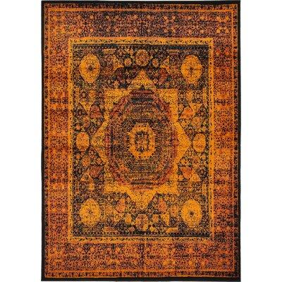 Yareli Terracotta/Black Area Rug Rug Size: 7' x 10'