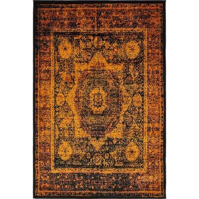 Yareli Terracotta/Black Area Rug Rug Size: 4' x 6'