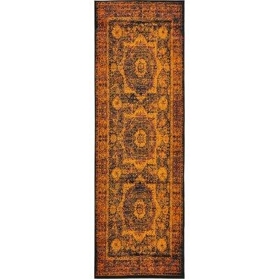 Yareli Terracotta/Black Area Rug Rug Size: Runner 3 x 91