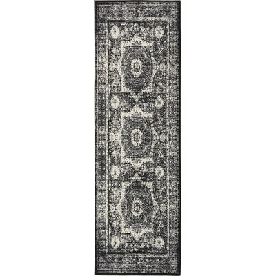 Yareli Gray/Black Area Rug Rug Size: Runner 3 x 91