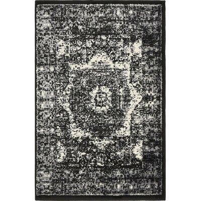 Yareli Gray/Black Area Rug Rug Size: 2 x 6