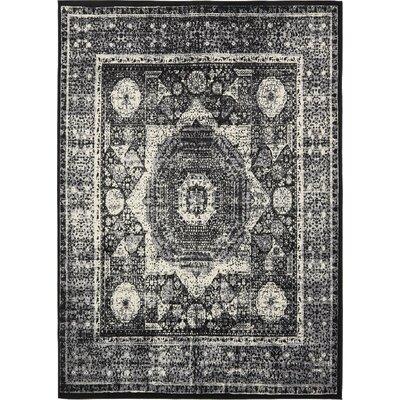 Yareli Gray/Black Area Rug Rug Size: 7 x 10