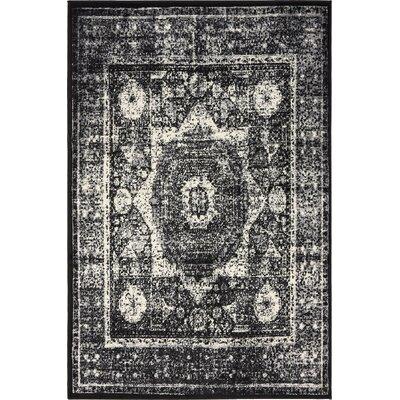Yareli Gray/Black Area Rug Rug Size: 4 x 6