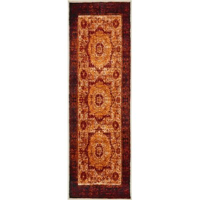 Yareli Orange/Red Area Rug Rug Size: Runner 3 x 910