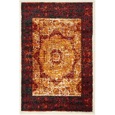 Yareli Orange/Red Area Rug Rug Size: 2 x 6