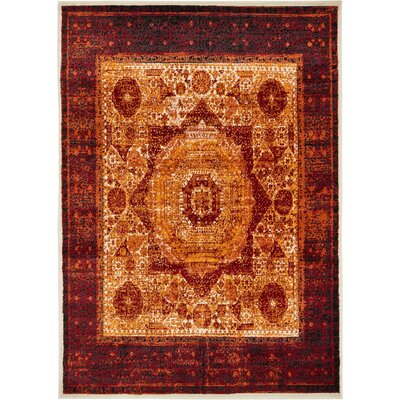 Yareli Orange/Red Area Rug Rug Size: 7 x 10