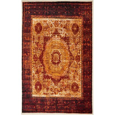 Yareli Orange/Red Area Rug Rug Size: 5 x 8