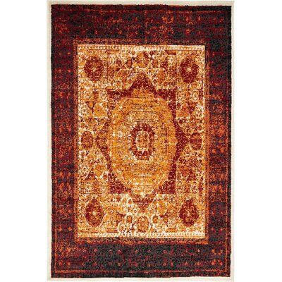 Yareli Orange/Red Area Rug Rug Size: 4' x 6'