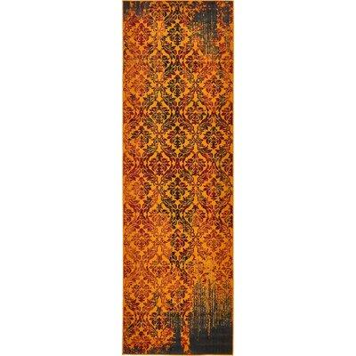 Yareli Orange/Burgundy Area Rug Rug Size: Runner 3 x 91