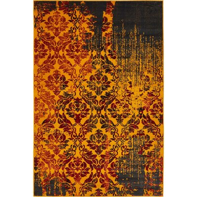 Yareli Orange/Burgundy Area Rug Rug Size: 4 x 6
