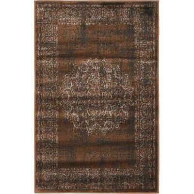 Hezekiah Chocolate Brown/Black Area Rug Rug Size: 2 x 6