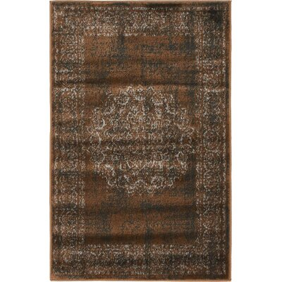 Hezekiah Chocolate Brown/Black Area Rug Rug Size: 2 x 3