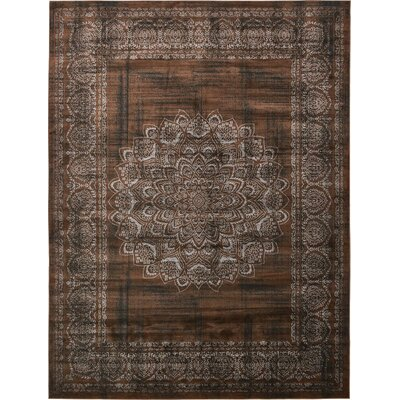 Hezekiah Chocolate Brown/Black Area Rug Rug Size: Rectangle 7 x 10