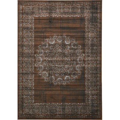 Hezekiah Chocolate Brown/Black Area Rug Rug Size: 7 x 10