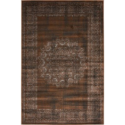 Yareli Chocolate Brown/Black Area Rug Rug Size: 4 x 6