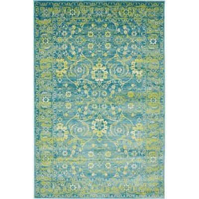 Yareli Blue/Green Area Rug Rug Size: 4 x 6