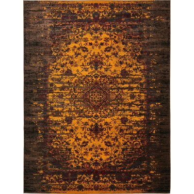 Yareli Yellow/Brown Area Rug Rug Size: 13' x 19'8
