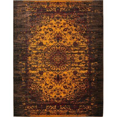 Yareli Yellow/Brown Area Rug Rug Size: 10' x 13'