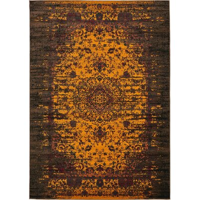 Yareli Yellow/Brown Area Rug Rug Size: 7' x 10'