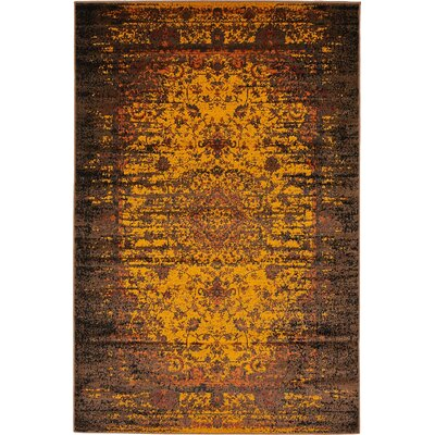 Yareli Yellow/Brown Area Rug Rug Size: 4' x 6'
