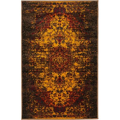 Yareli Yellow/Brown Area Rug Rug Size: 2 x 6
