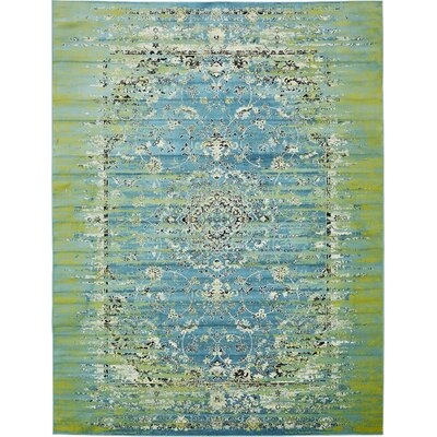 Neuilly Blue/Green Area Rug Rug Size: Rectangle 2' x 6'