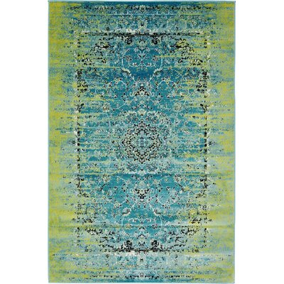 Neuilly Blue/Green Area Rug Rug Size: 4 x 6