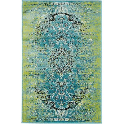 Neuilly Blue/Green Area Rug Rug Size: 2 x 3