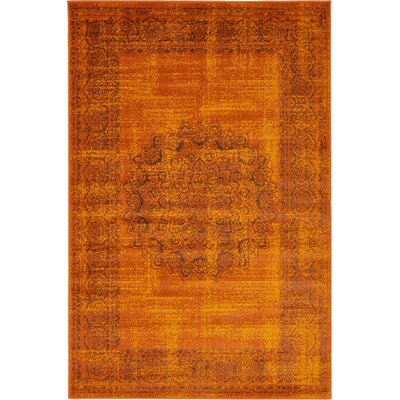 Neuilly Terracotta/Brown Area Rug Rug Size: 4 x 6