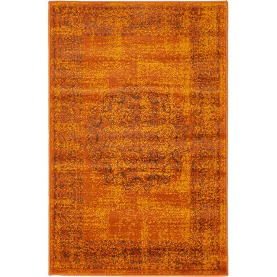 Neuilly Terracotta/Brown Area Rug Rug Size: 2 x 3